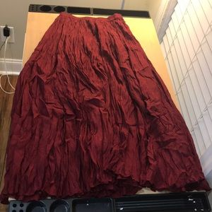Real Red long silk skirt cosplay old fashioned